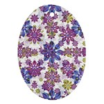 Stylized Floral Ornate Pattern Oval Ornament (Two Sides) Back