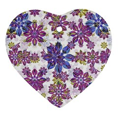 Stylized Floral Ornate Pattern Heart Ornament (2 Sides)