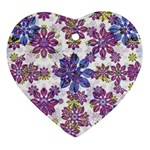 Stylized Floral Ornate Pattern Heart Ornament (2 Sides) Front