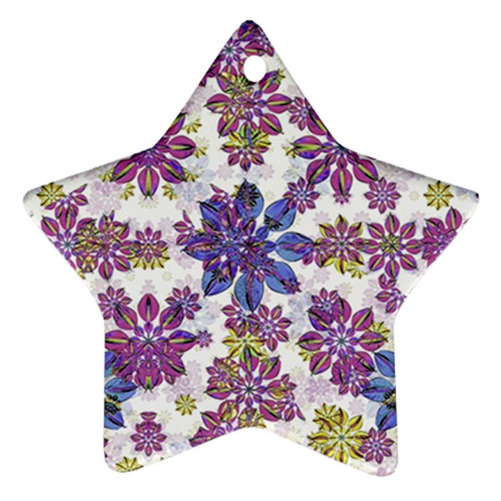 Stylized Floral Ornate Pattern Star Ornament (Two Sides)