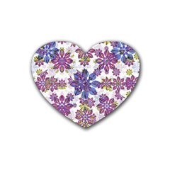 Stylized Floral Ornate Pattern Rubber Coaster (Heart)