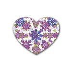 Stylized Floral Ornate Pattern Rubber Coaster (Heart)  Front