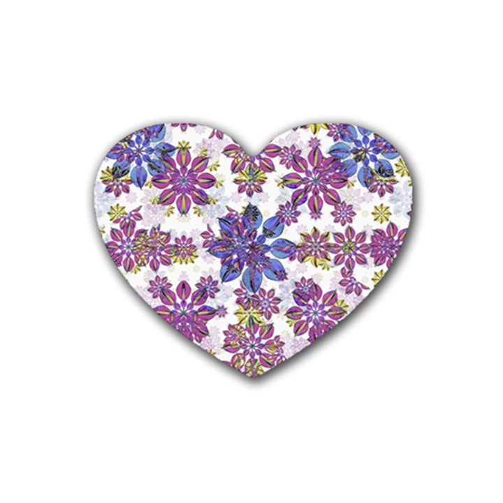Stylized Floral Ornate Pattern Heart Coaster (4 pack)