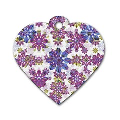 Stylized Floral Ornate Pattern Dog Tag Heart (two Sides)