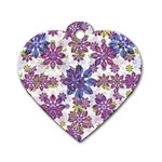 Stylized Floral Ornate Pattern Dog Tag Heart (Two Sides) Back