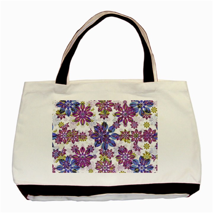 Stylized Floral Ornate Pattern Basic Tote Bag (Two Sides)