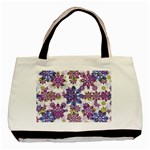 Stylized Floral Ornate Pattern Basic Tote Bag (Two Sides) Back