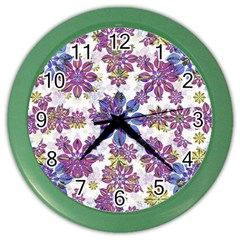 Stylized Floral Ornate Pattern Color Wall Clocks