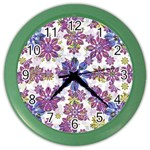 Stylized Floral Ornate Pattern Color Wall Clocks Front