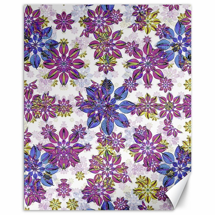 Stylized Floral Ornate Pattern Canvas 11  x 14