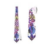 Stylized Floral Ornate Pattern Neckties (Two Side)  Front