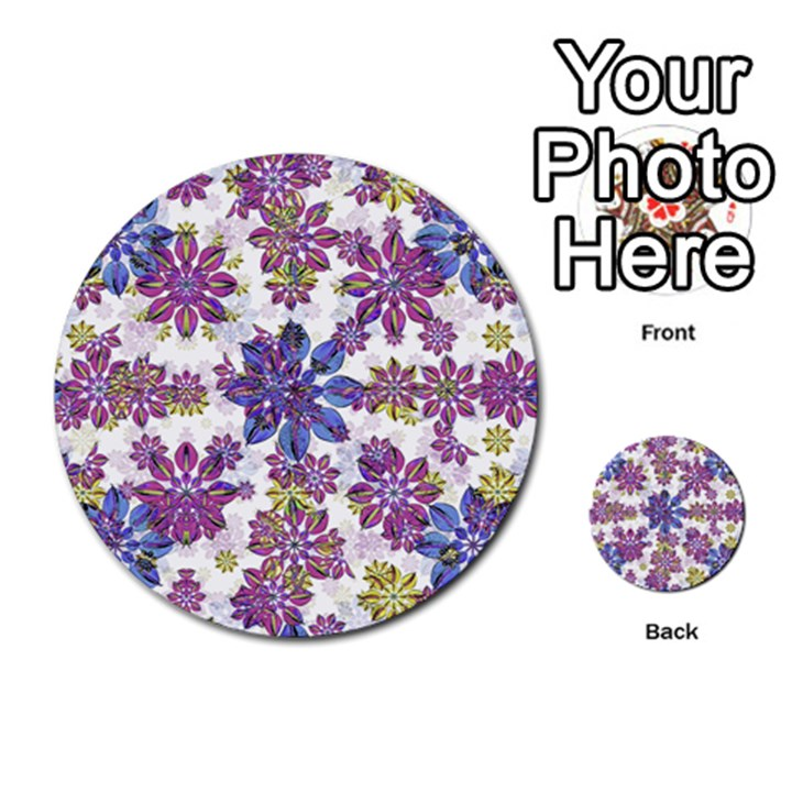 Stylized Floral Ornate Pattern Multi-purpose Cards (Round)