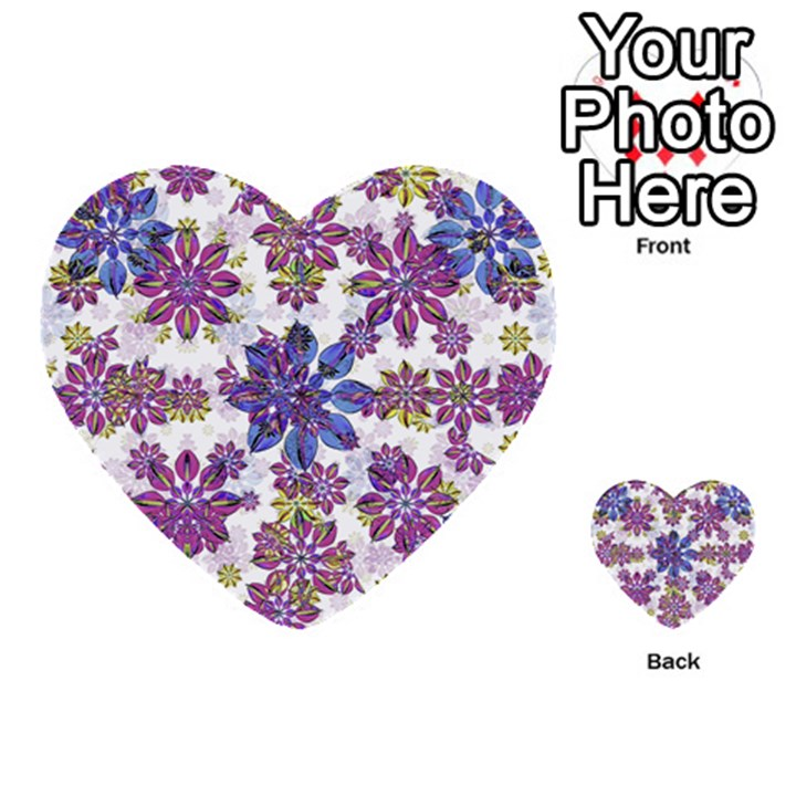 Stylized Floral Ornate Pattern Multi-purpose Cards (Heart)