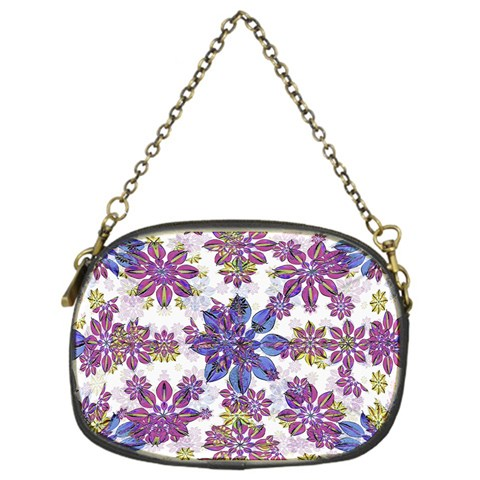 Stylized Floral Ornate Pattern Chain Purses (One Side)