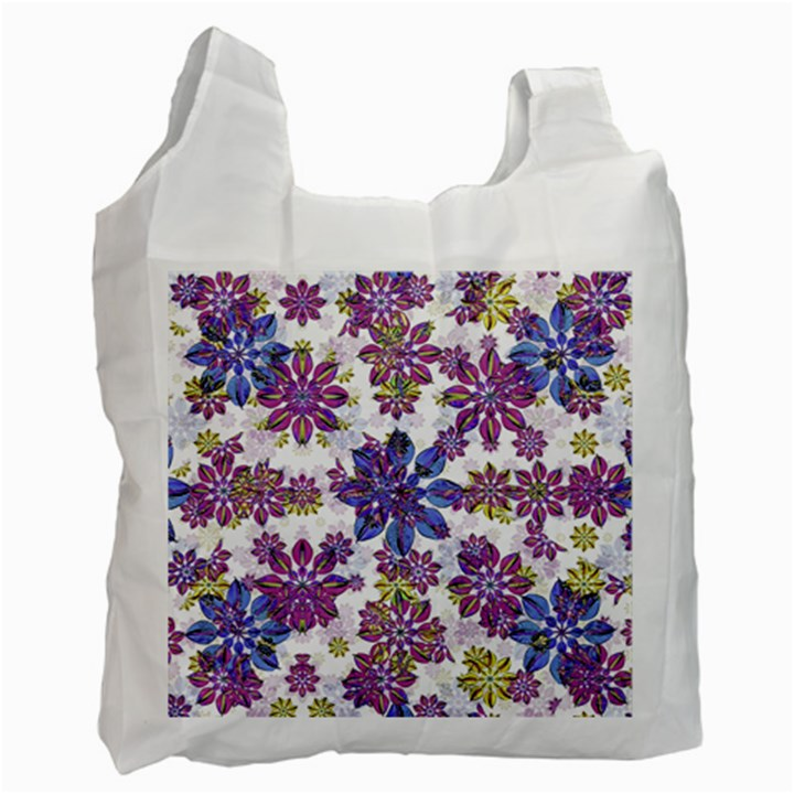 Stylized Floral Ornate Pattern Recycle Bag (Two Side)