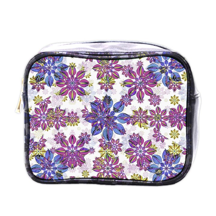 Stylized Floral Ornate Pattern Mini Toiletries Bags