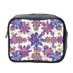 Stylized Floral Ornate Pattern Mini Toiletries Bag 2 Side