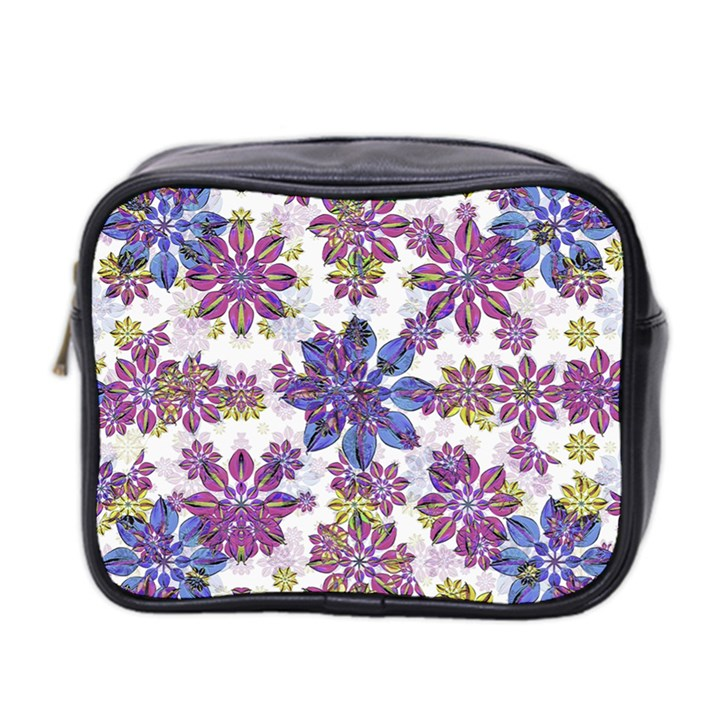 Stylized Floral Ornate Pattern Mini Toiletries Bag 2-Side