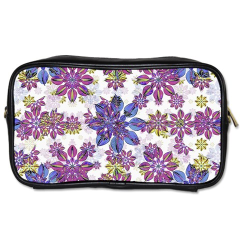 Stylized Floral Ornate Pattern Toiletries Bags