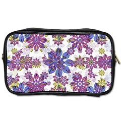 Stylized Floral Ornate Pattern Toiletries Bags 2 Side