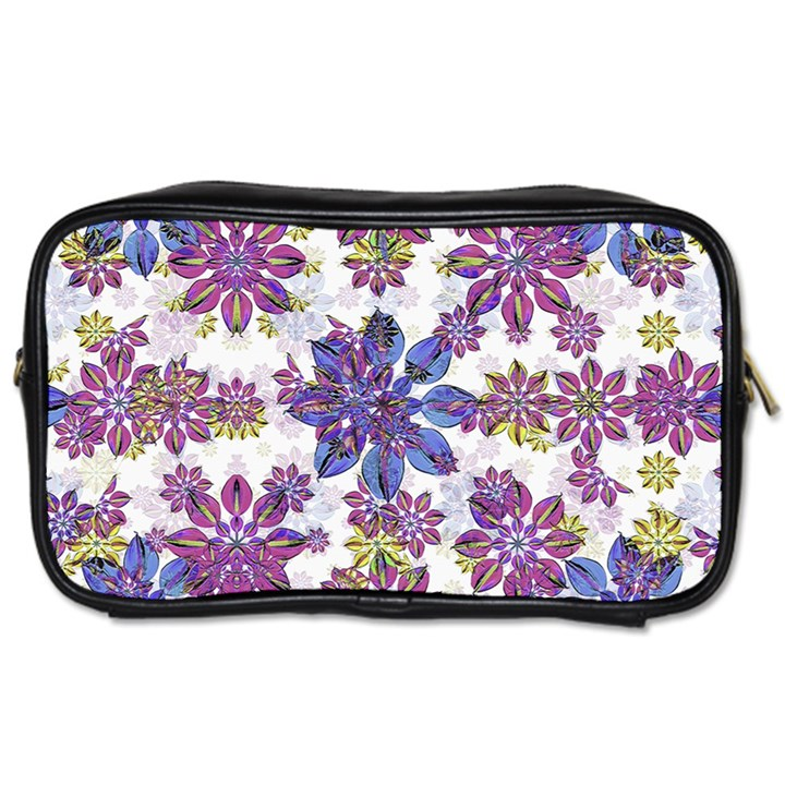 Stylized Floral Ornate Pattern Toiletries Bags 2-Side