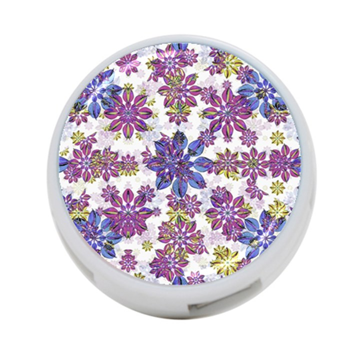 Stylized Floral Ornate Pattern 4-Port USB Hub (One Side)