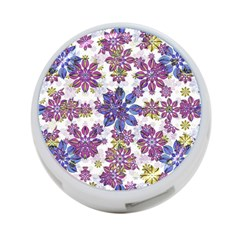 Stylized Floral Ornate Pattern 4-Port USB Hub (Two Sides)