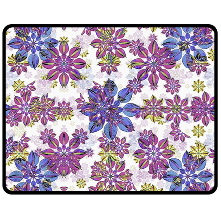 Stylized Floral Ornate Pattern Fleece Blanket (Medium)
