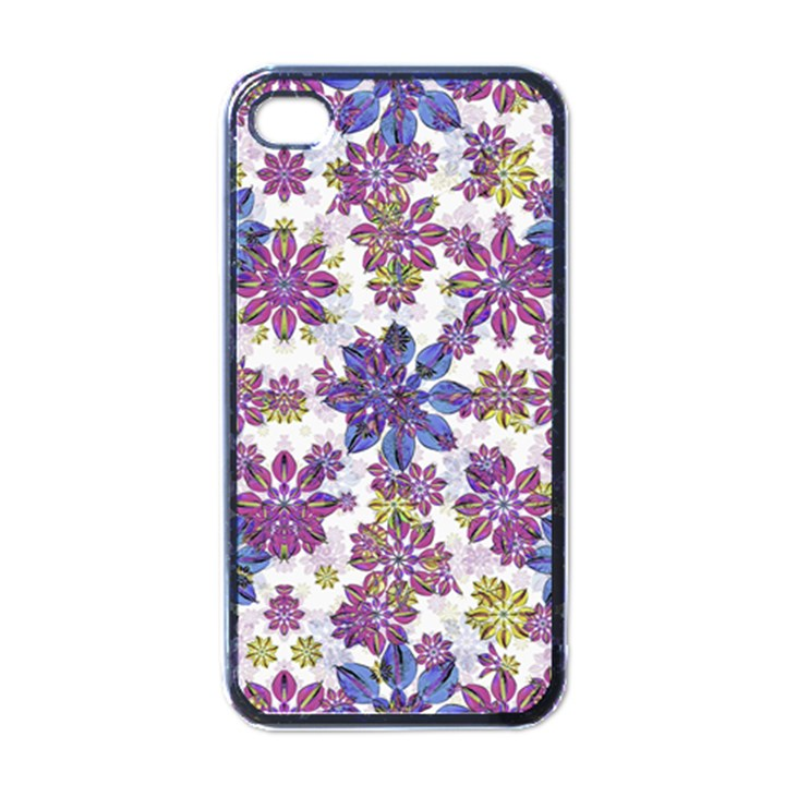 Stylized Floral Ornate Pattern Apple iPhone 4 Case (Black)