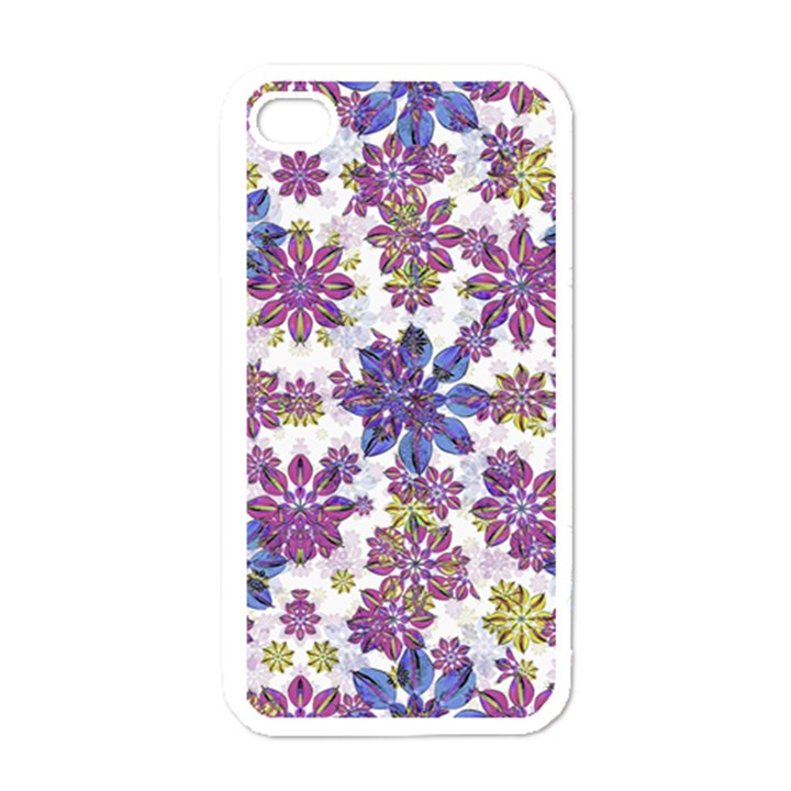 Stylized Floral Ornate Pattern Apple iPhone 4 Case (White)