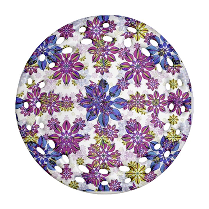 Stylized Floral Ornate Pattern Ornament (Round Filigree)