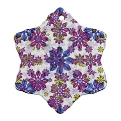 Stylized Floral Ornate Pattern Snowflake Ornament (2-Side)