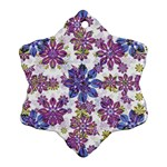 Stylized Floral Ornate Pattern Snowflake Ornament (2-Side) Front