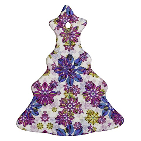 Stylized Floral Ornate Pattern Christmas Tree Ornament (2 Sides)