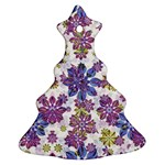 Stylized Floral Ornate Pattern Christmas Tree Ornament (2 Sides) Front