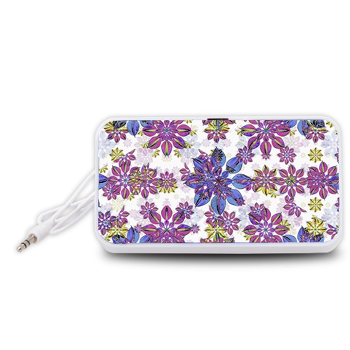 Stylized Floral Ornate Pattern Portable Speaker (White)