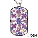Stylized Floral Ornate Pattern Dog Tag USB Flash (One Side) Front