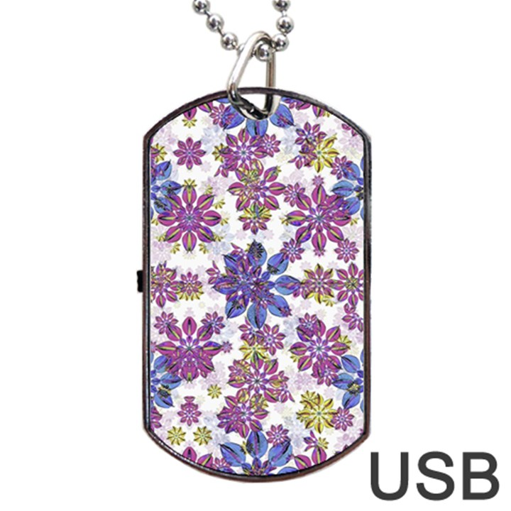 Stylized Floral Ornate Pattern Dog Tag USB Flash (One Side)