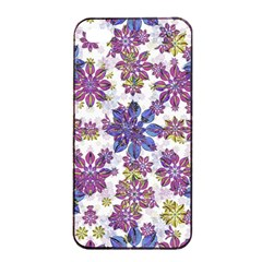 Stylized Floral Ornate Pattern Apple iPhone 4/4s Seamless Case (Black)