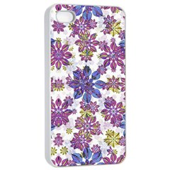 Stylized Floral Ornate Pattern Apple Iphone 4/4s Seamless Case (white)