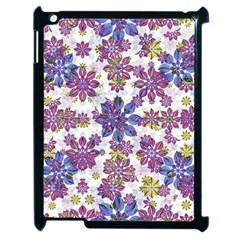 Stylized Floral Ornate Pattern Apple iPad 2 Case (Black)