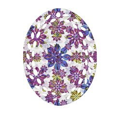 Stylized Floral Ornate Pattern Oval Filigree Ornament (2 Side)