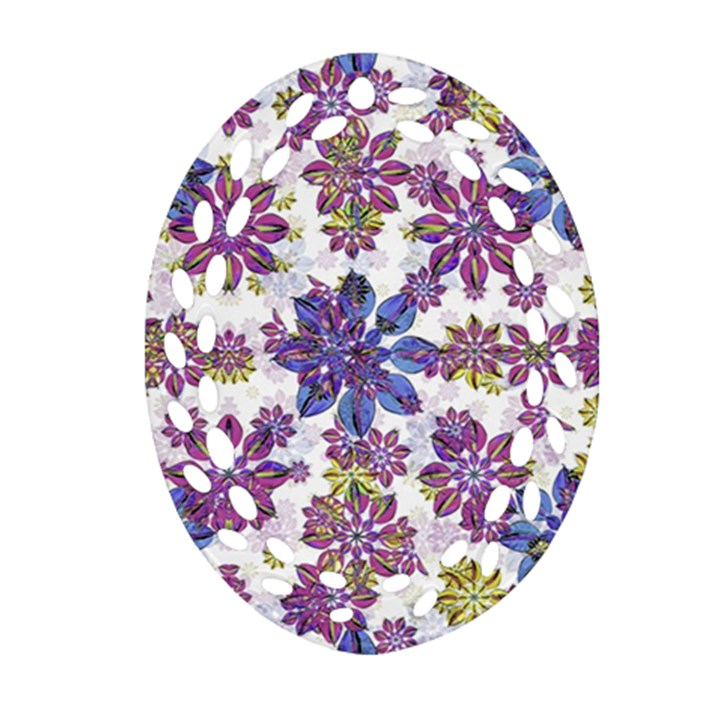 Stylized Floral Ornate Pattern Oval Filigree Ornament (2-Side)