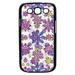 Stylized Floral Ornate Pattern Samsung Galaxy S III Case (Black) Front