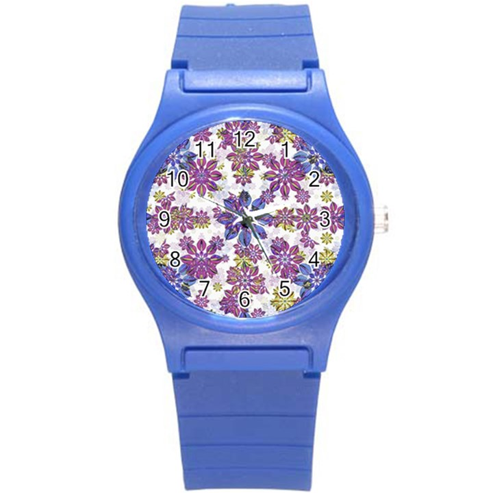 Stylized Floral Ornate Pattern Round Plastic Sport Watch (S)