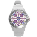 Stylized Floral Ornate Pattern Round Plastic Sport Watch (L) Front