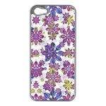 Stylized Floral Ornate Pattern Apple iPhone 5 Case (Silver) Front