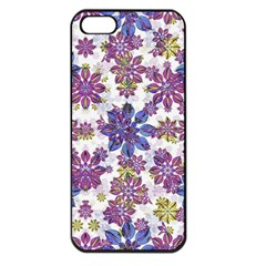 Stylized Floral Ornate Pattern Apple Iphone 5 Seamless Case (black)