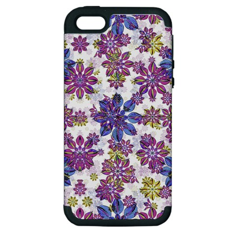 Stylized Floral Ornate Pattern Apple iPhone 5 Hardshell Case (PC+Silicone)
