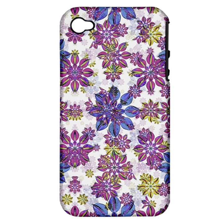 Stylized Floral Ornate Pattern Apple iPhone 4/4S Hardshell Case (PC+Silicone)